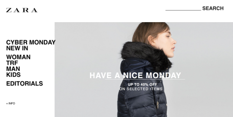Zara Cyber Monday 2015 Ad - Page 1