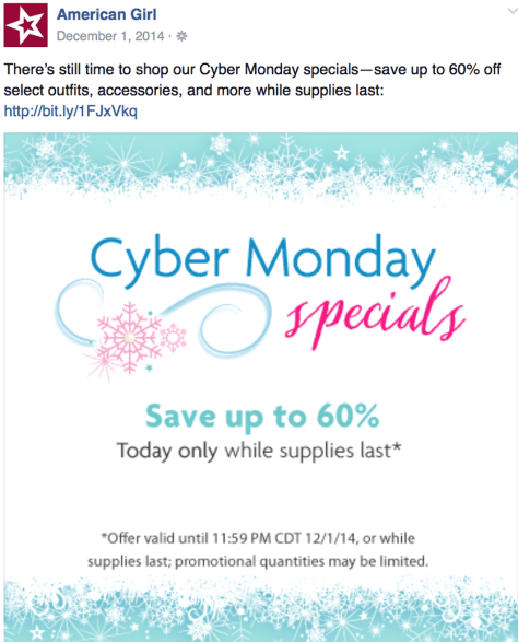 American Girl Cyber Monday Ad - Page 1