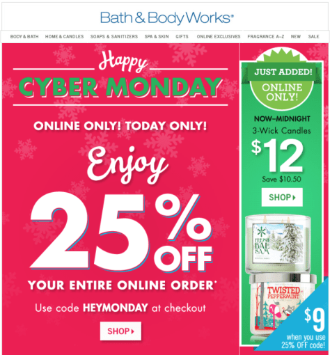 Bath and Body Works Cyber Monday Ad - Page 1