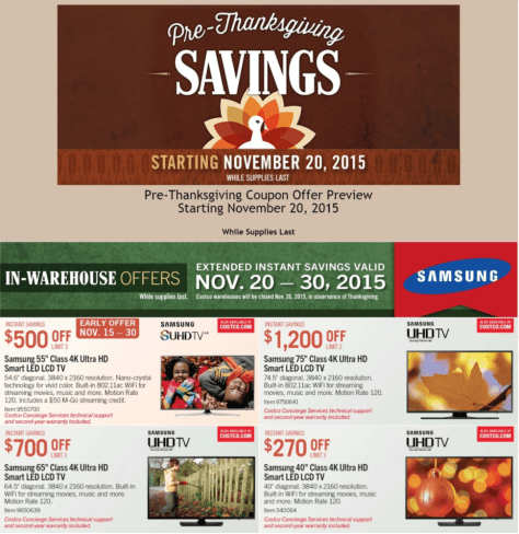 Costco Black Friday 2015 Ad - Page 1
