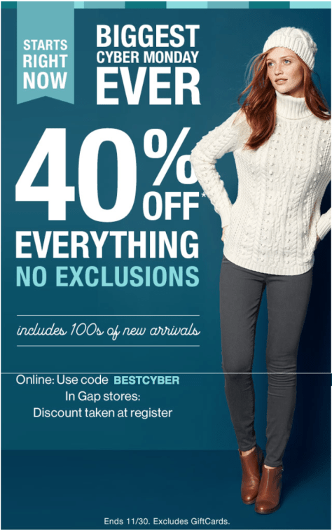 Gap Cyber Monday 2015 Ad - Page 1