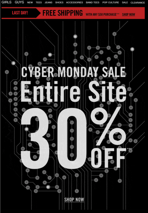 Hot Topic Cyber Monday Ad - Page 1