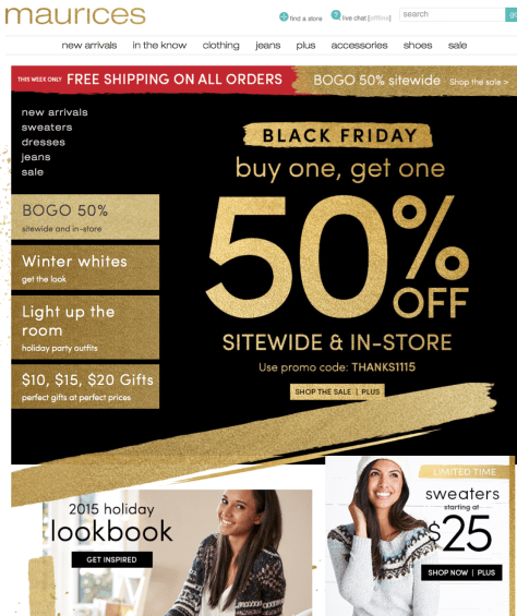Maurices Black Friday 2015 Ad - Page 1