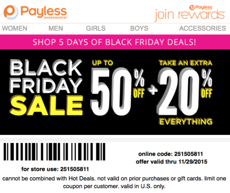 Payless Black Friday 2015 Flyer - Page 1