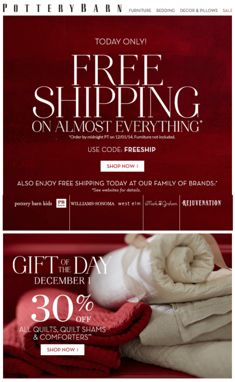 Pottery Barn Cyber Monday Ad - Page 1