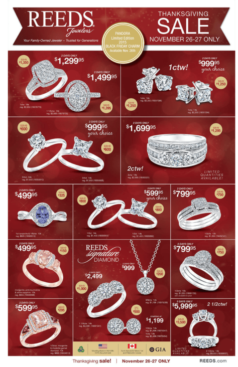 Reeds Jewelers Black Friday Ad 2015 - Page 1