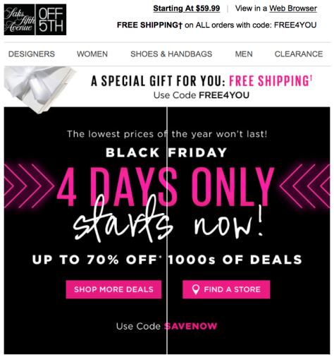 Saks 5th Ave Off 5th Black Friday 2015 Flyer - Page 1