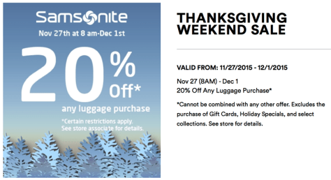 Samsonite Black Friday 2015 Ad - Page 1