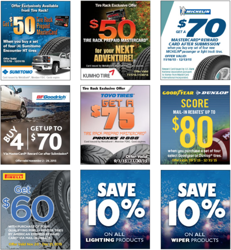 These Tire Rack promo codes have expired but may still work. $80 Rebate w/ 4+ Winter Tires Receive up to $80 Back when you purchase a set of four (4) select winter / snow tires.5/5(2).