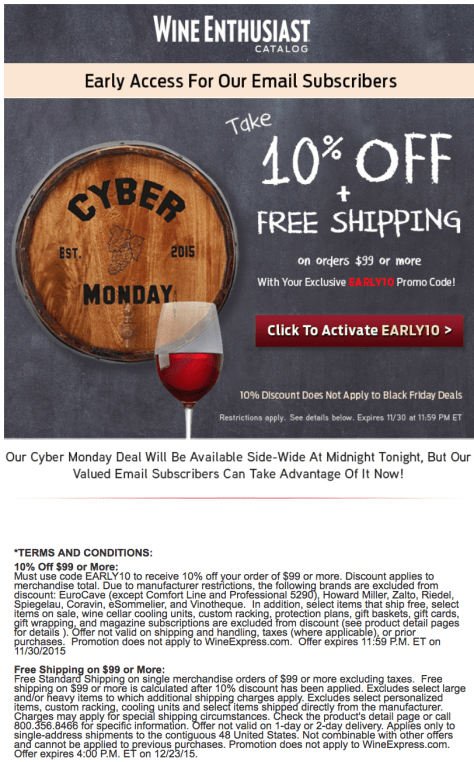Wine Enthusiast Cyber Monday 2015 Ad - Page 1