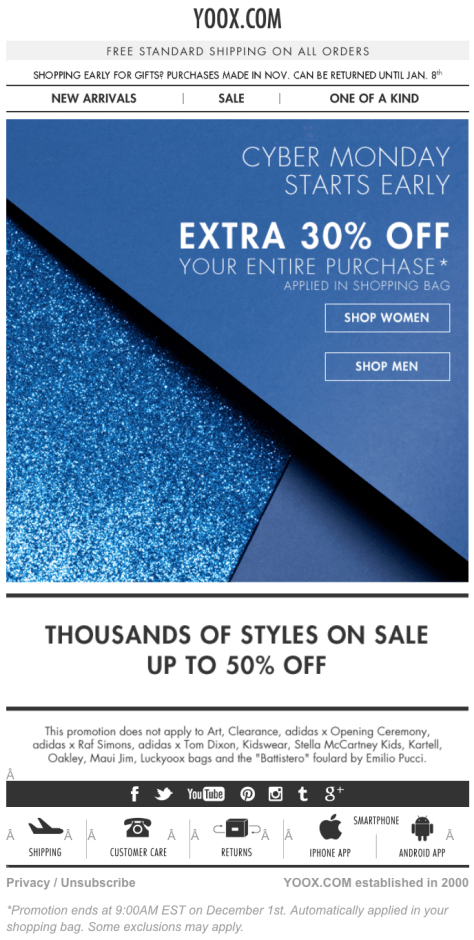 Yoox Cyber Monday 2015 Ad - Page 1