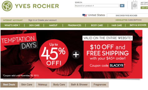 Yves Rocher Black Friday 2015 Flyer - Page 1