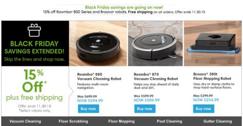 iRobot Cyber Monday 2015 Ad - Page 1