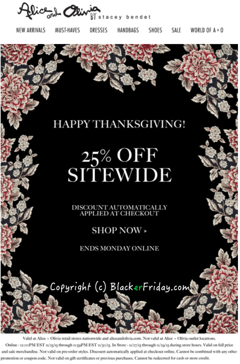 Alice and Olivia Black Friday Ad - Page 1