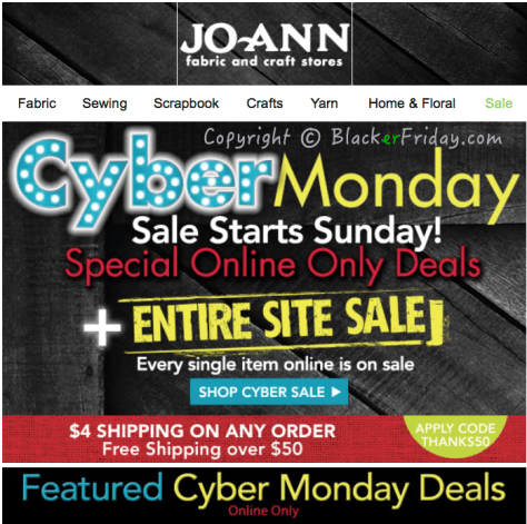 Jo Ann Fabrics Cyber Monday Ad Scan - Page 1