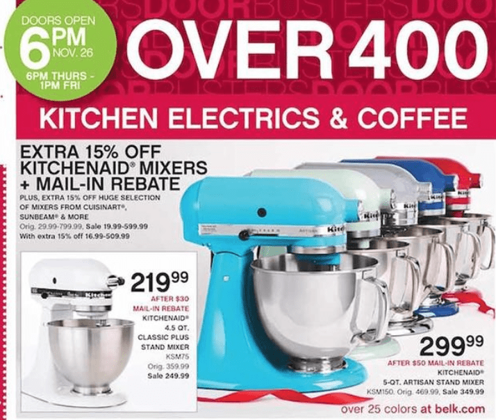 KitchenAid Artisan Mixer Black Friday   Belk