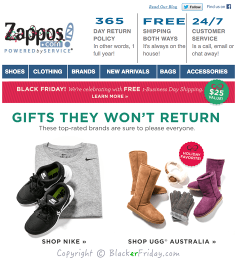 Zappos Black Friday Ad Scan - Page 1