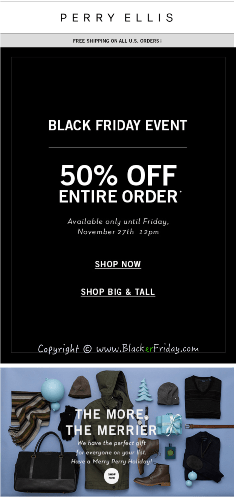 Perry Ellis Black Friday Sale Ad Scan - Page 1