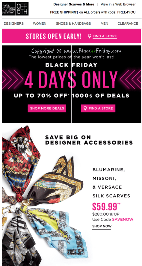 Saks Fifth Avenue Black Friday Sale Flyer - Page 1