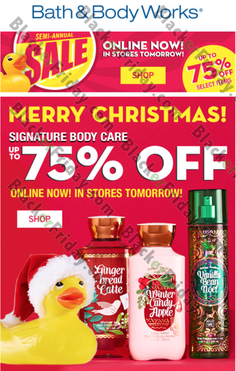 We ve posted a copy of the ad below which includes the official sale terms  and conditions  Happy shopping  Bath and Body Works 2. Bath   Body Works After Christmas Sale 2017   Christmas Sales 2017