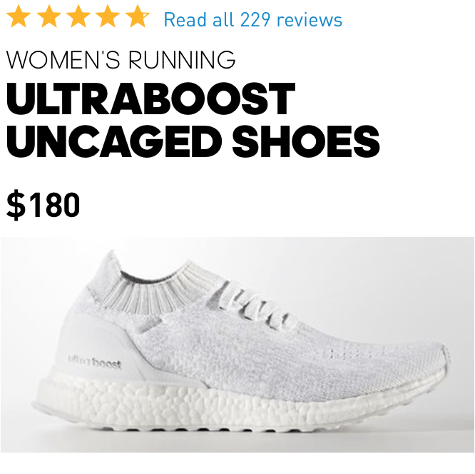 Women\u0027s Ultraboost Uncaged Shoes \u2014 Available in 5 different colors, the  boost sole in these running shoes will help you absorb the force from your  ...