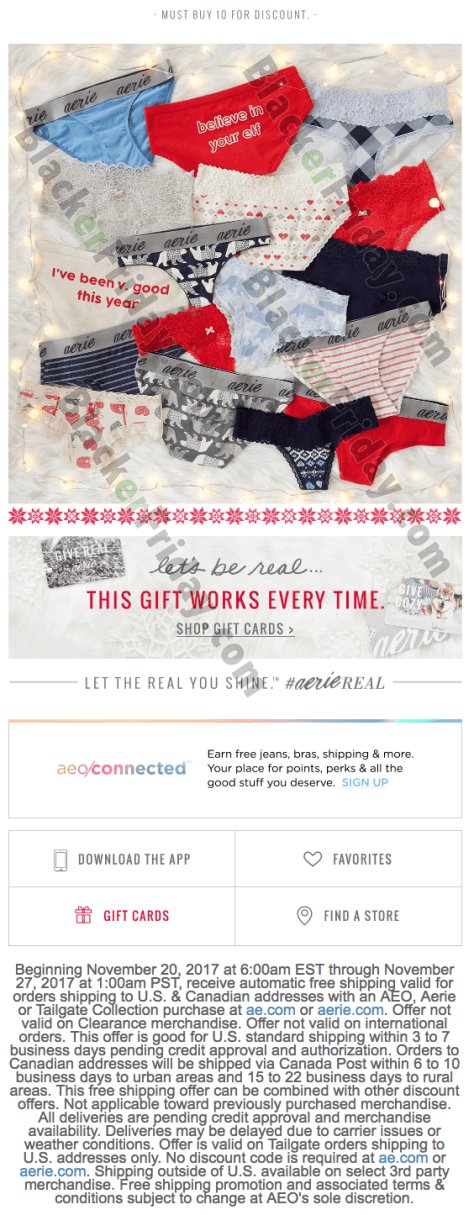 Black Friday Coupons Latest Black Friday coupons and deals for Download the AEO Aerie app for access to exclusive promotions and codes. Click the Clearance tab to view discounted merchandise. Pair these with discount codes to save even more.