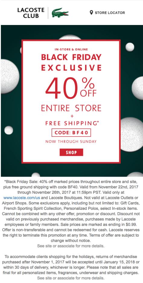 2019 Saleamp; Outlet Lacoste Black Friday Deals 0Own8PkXN