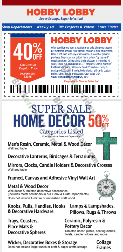 sale ends on saturday november 25th just dont forget to take the coupon with you when thou go because its good for 40 off one regularly priced item of - Hobby Lobby After Christmas Sale