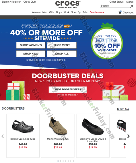 7dae30689 ... Cyber Monday sale is officially here — Check out the deals at crocs.com  and get 40% or more site-wide! We ve posted their ad below.
