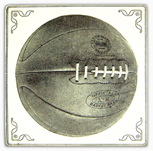 An early laced basketball