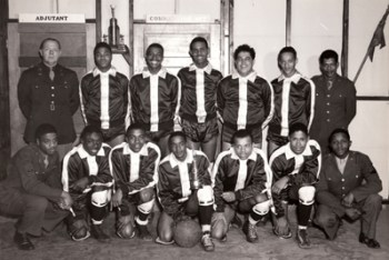 An unknown U.S. military basketball team