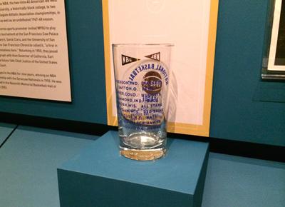 Bar glass imprinted with National Basketball League teams