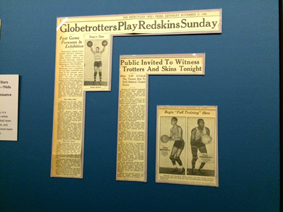 Newspaper articles promoting the Harlem Globetrotters.