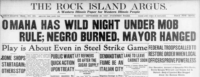Omaha riot headline