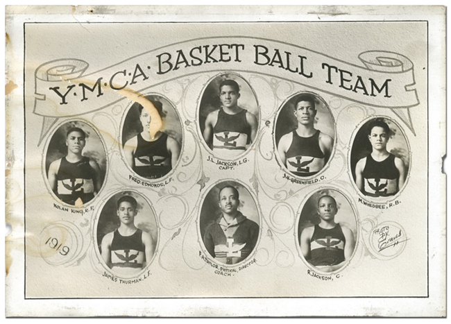 As yet unidentified Colored Branch YMCA basketball team, 1919. (Black Fives Foundation Archives)