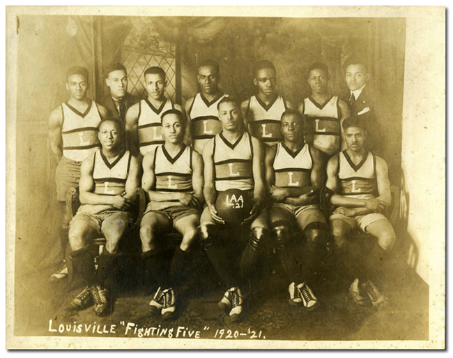 "Louisville ""Fightin' Five"" basketball team, ca. 1920."