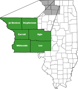 The six counties of Blackhawk Hills: Jo Daviess, Stephenson, Carroll, Ogle, Whiteside, and Lee in Illinois