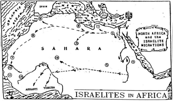 Map of Israel Migration Into Africa
