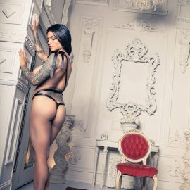 Black Label Magazine, inked girls, naked tattooed models, sexy tats, inked beauties, nude models, sandria dore