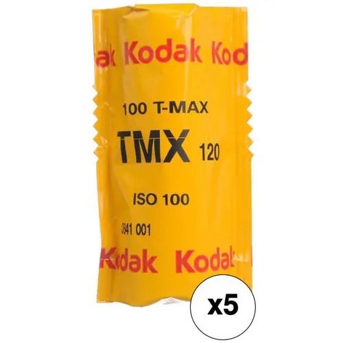 Kodak Professional T-Max 100 Black and White Negative Film (120 Roll Film, 5-Pack)