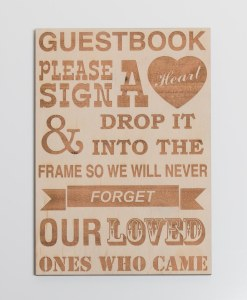 Heart Guest Book Sign - Wooden Engraved