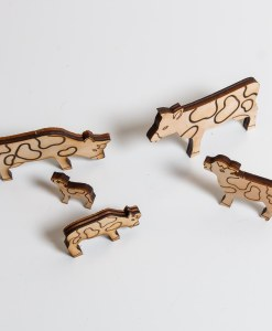 Laser Cut Wooden Set of Cows