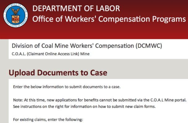 Screenshot of DOL's C.O.A.L. Mine portal for black lung claims