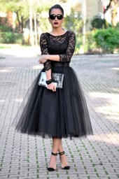 The Project is wearing a black Tulle skirt