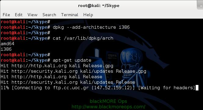 11 - Install Skype in Kali Linux - dpkg --add-architecture i386 - blackMORE Ops