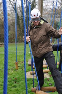low level ropes course man blindfolded challenge