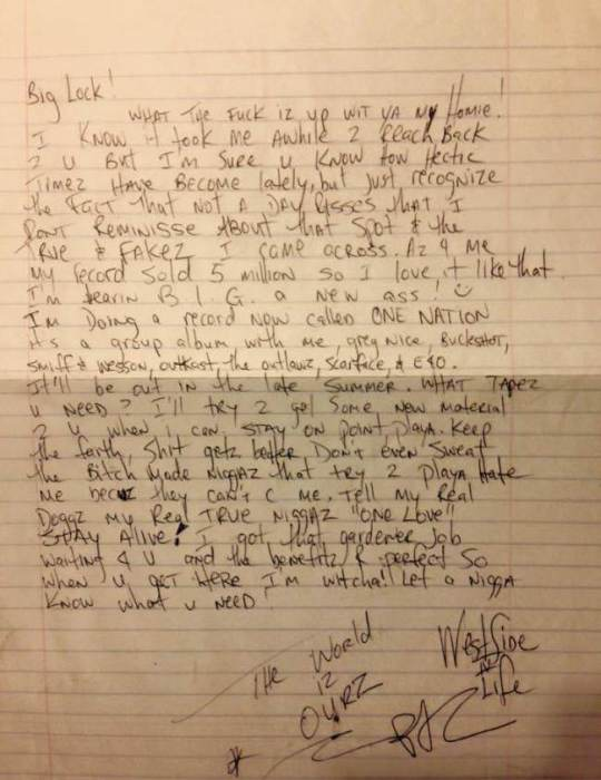 2pac letter