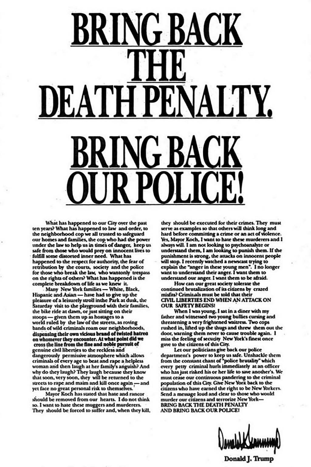 Trump's ad on the front pages of NYC images in 1989 asking for the return of the death penalty for the Central Park Five.