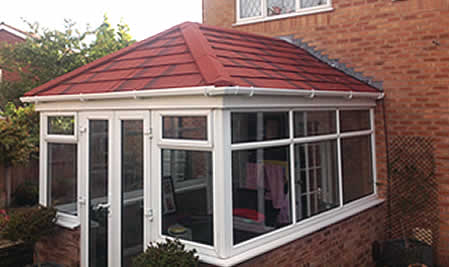 Conservatory Roof Conversion using Metrotile lightweight steel tiles installed by professional roofing contractors, Blackpool Industrial Roofing Ltd.