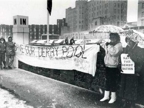 Campaigners trying to save Derby Baths with their banners outside the Norbreck Castle Hotel in January 1988